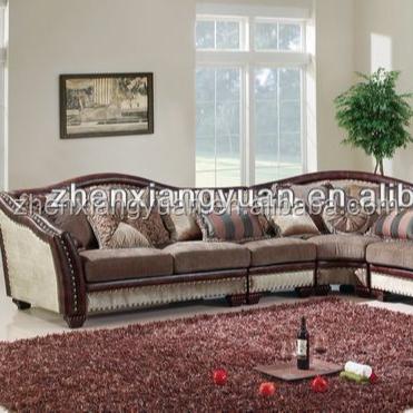 2018 Living room sofas home furnitures classic wooden corner sofa fabric sofa