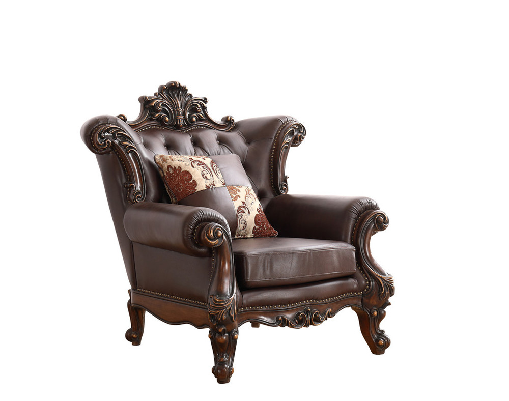 2020 American styleLiving Room Furniture leather solid wood carved sofa set-SF8803