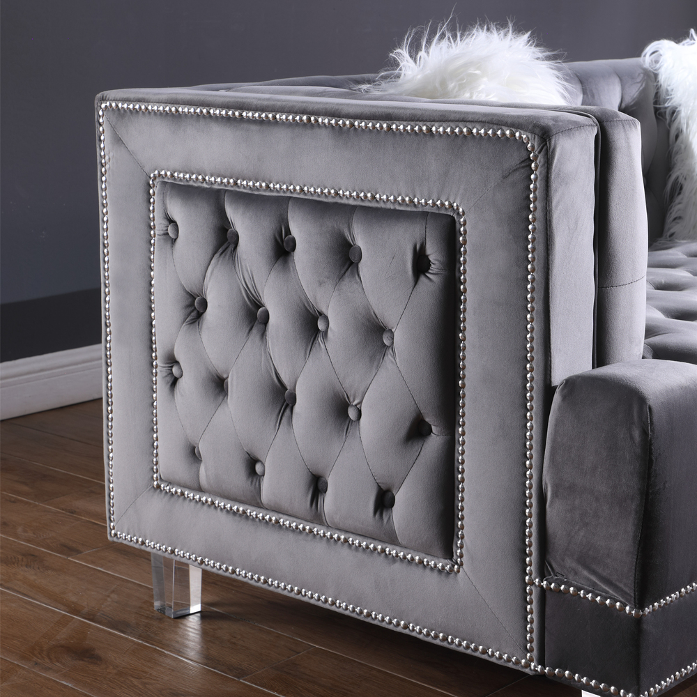 Wholesale furniture with high quality chesterfield grey velvet love seat 2 sesat