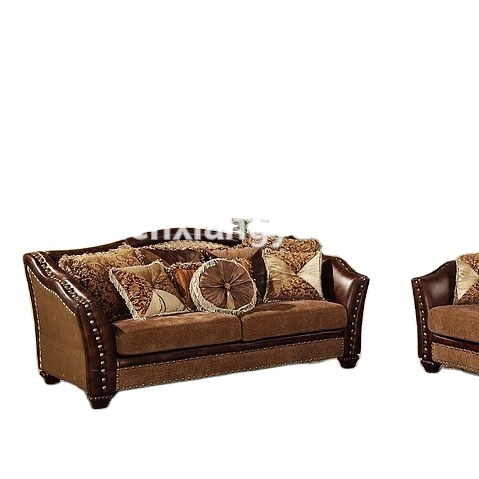 Living roomsofas American furniture classic vintage royal design wooden fabric sofa