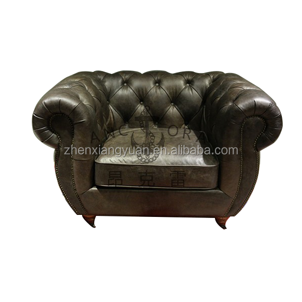 2018 vintage top grain wing chair chesterfield leisure armchair for living room set