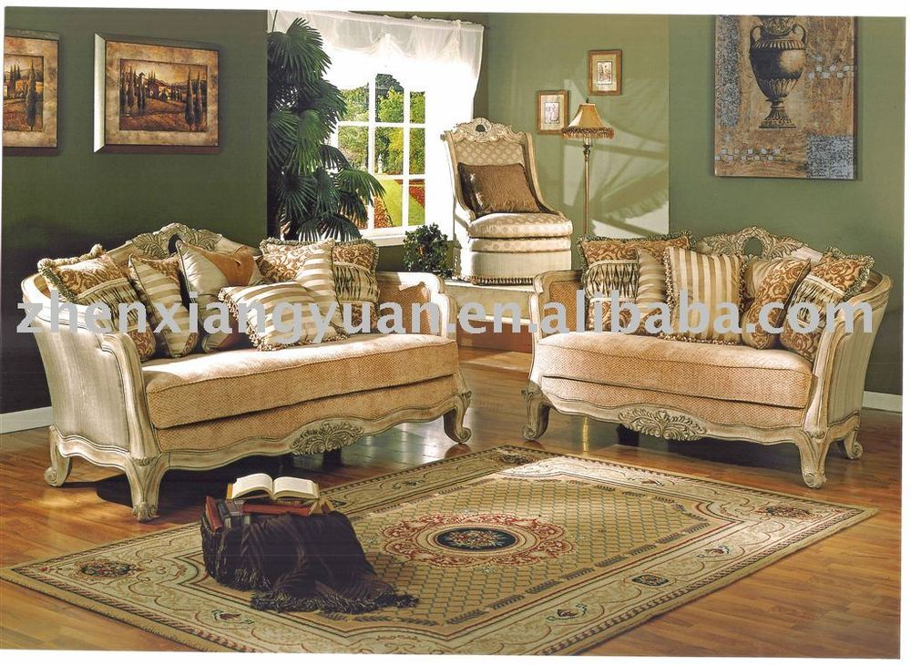 2015 living room furnitures American style antique fabric sofa carving wood sofa