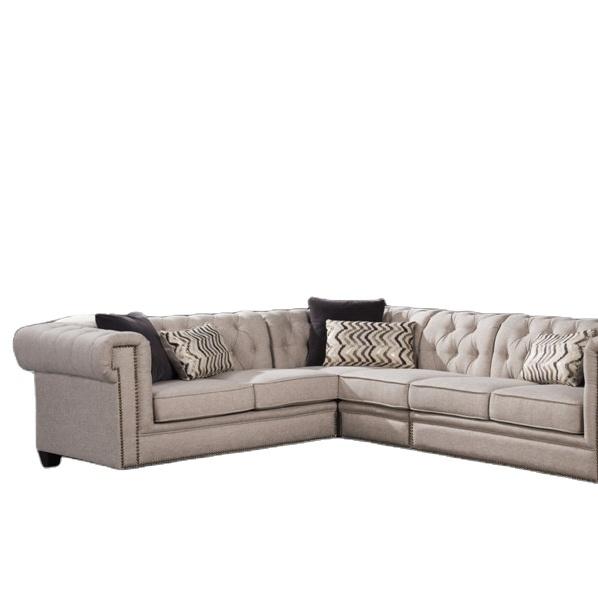 Living room sofas Antique hot sale linen fabric lounge cornerchesterfield sofa