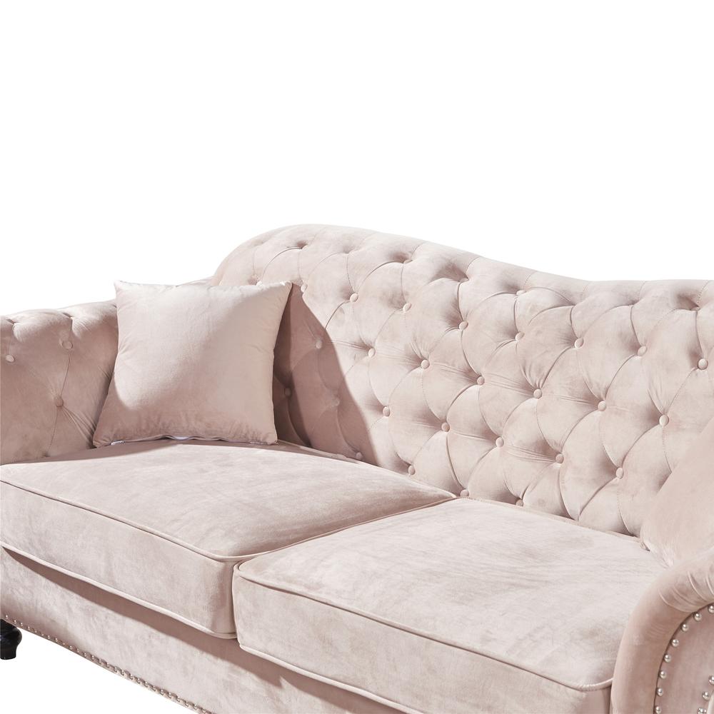 Living Room sofas Oversize Traditional Classic chesterfield beige velvet fabric love seat