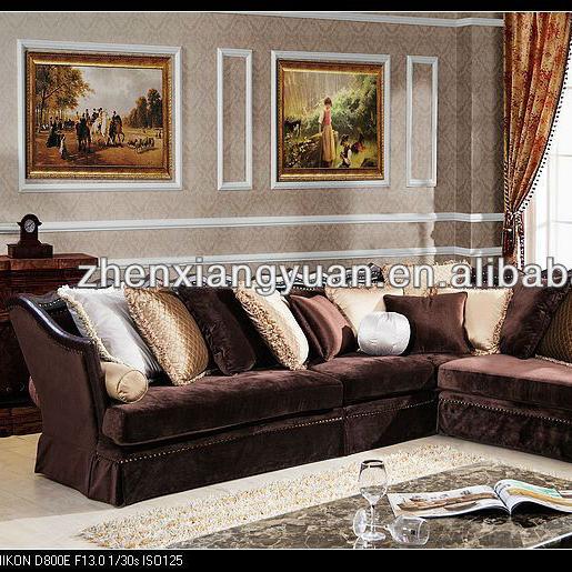 2016 Home furnitures Royal arab style antique wooden corner sofas