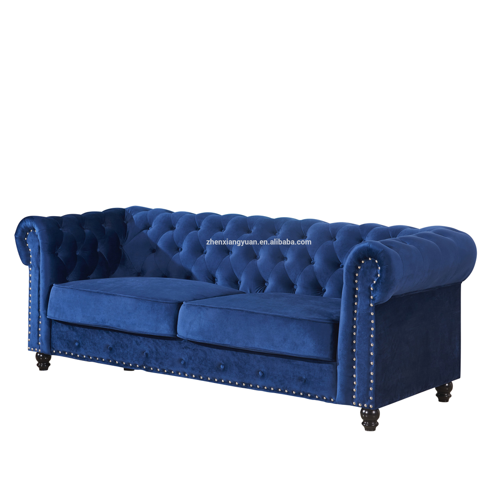 2020 Classic Chesterfield Sofa Button Tufted 3 Seater Velvet Polyester Blue Chesterfield-SF1726
