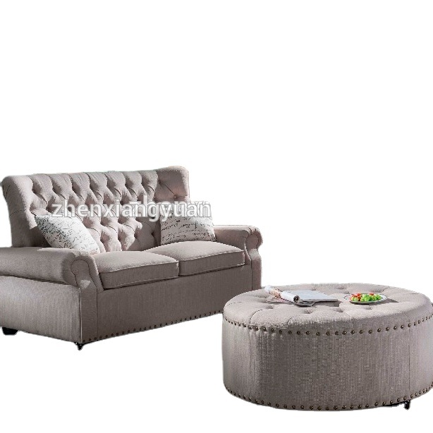 2021 Classic Linen Fabric Scroll Arm Tufted Button Chesterfield Style Sofa