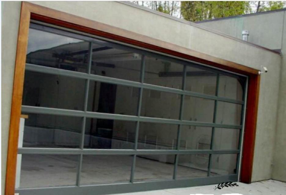 Aluminum frame glass transparent glass garage door with remote control
