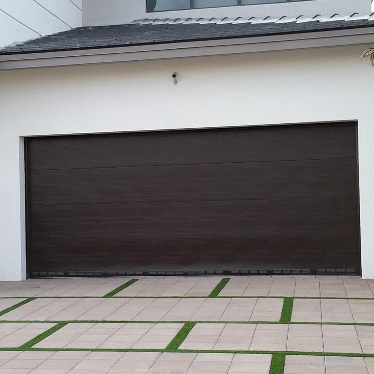 Black Color 7' Wide and 8' High Steel with PU Material Automatic Garage Overhead Sectional Door
