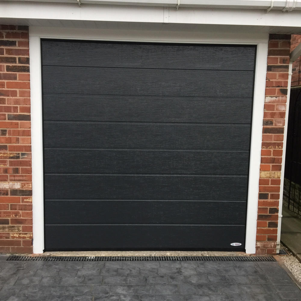 Automatical 50mm thickness with PU material Heat Prevention Black Color Overhead Sectional Garage Door