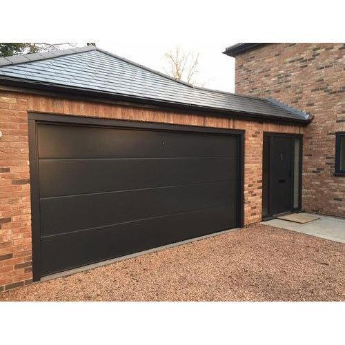 Factory Price 7' Wide and 8' High Good Quality Black ColorSteel Overhead Sectional Garage Door