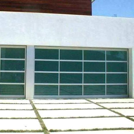 Factory Price Black Color Aluminum Surface Powder Coating Glass Overhead Sectional Garage Door