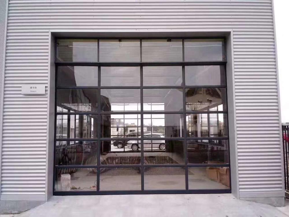 Customized glass panel aluminum frame transparent garage door