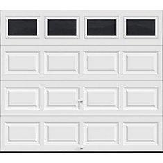 white electric folding 8x7 garage door with top window