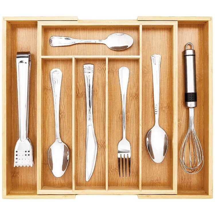 kitchen expandable silverware organizer utensil holder and cutlery bamboo tray with grooved drawer dividers