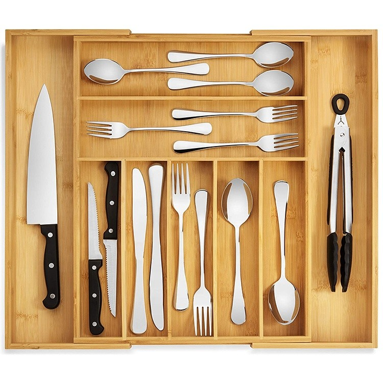 expandable kitchen drawer utensil organizer, perfect size cutlery tray with drawer dividers for flatware