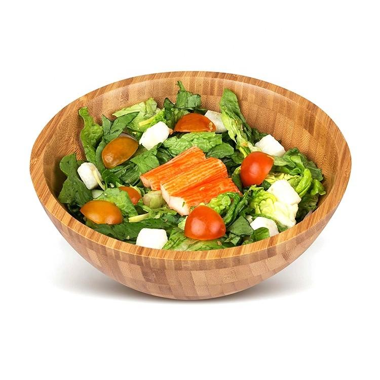 Premium Natural Sustainable Reusable Bamboo SaladBowl,Single 8 5/8