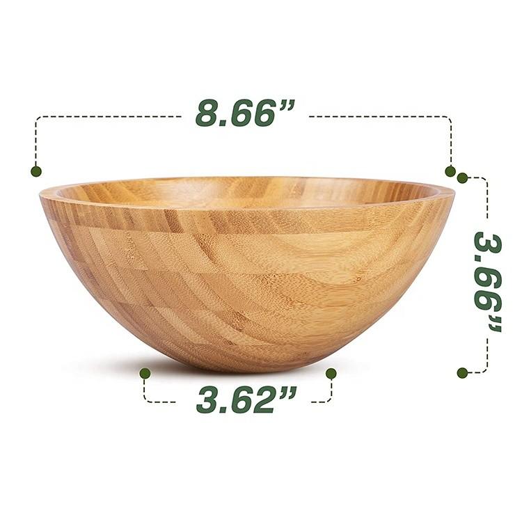 Modern Style Amazon Hot sale design ecofriendly natural round bamboo salad bowl