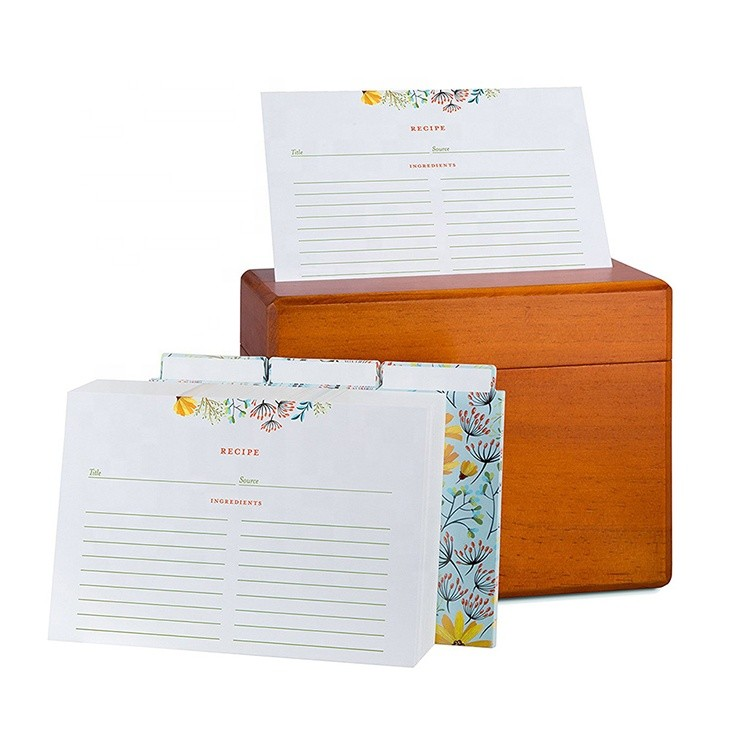 Vitalucks Wholesale Eco-Friendly Multipurpose Wood Kitchen Recipe Box with 250 Recipe Cards