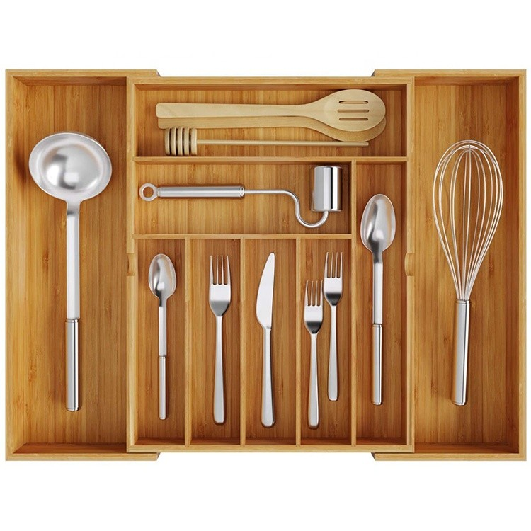 expandable bamboo kitchen drawer flatware and silverware organizer cutlery tray for stylish kitchen