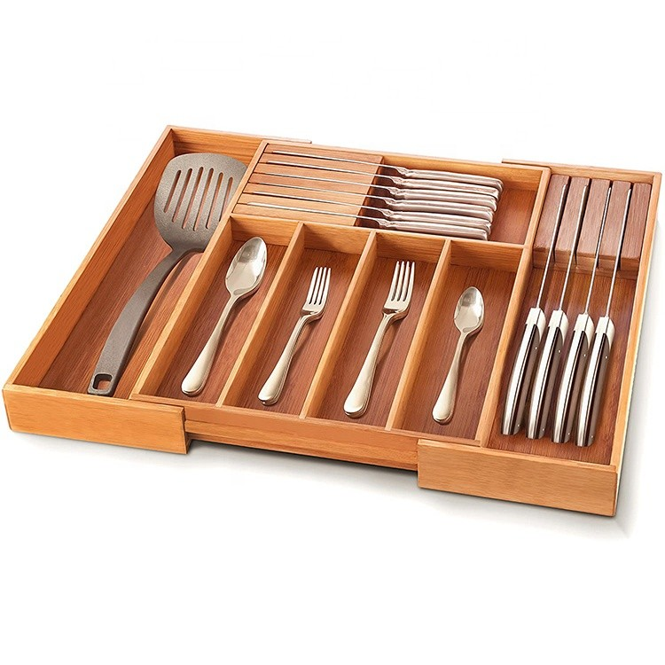 custom bamboo silverware drawer organizer expandable cutlery tray with 2 removable knife blocks