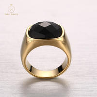 European and American jewelry wholesale stainless steelcustomized agate gold men's ring RC-260
