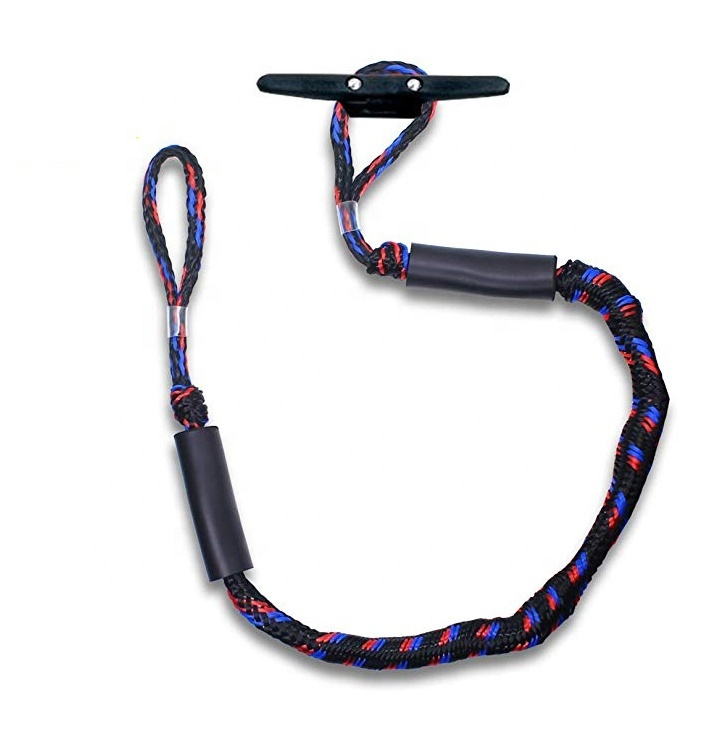 6-Foot Bungee Dock Line - Black boat bungee cord stretch dock line