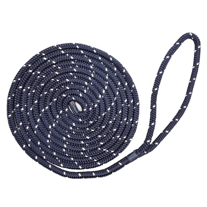 Abrasion Resistance Yacht Boat Mooring Rope Reflective Double Braided Dock Line