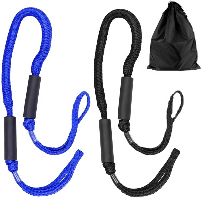 amazon hot sale hollow braid polyethylene with bungee cord dock linefor boat 4ft,5ft,6ft easy to handle 2 pack in clamshell