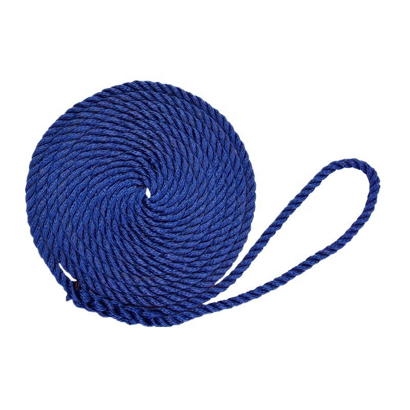 Boat Yacht Accessories High Strength 3 Strand Twisted Polyester Dock Line Mooring Rope