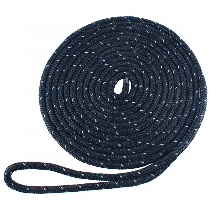 dock lines, double braided, black color