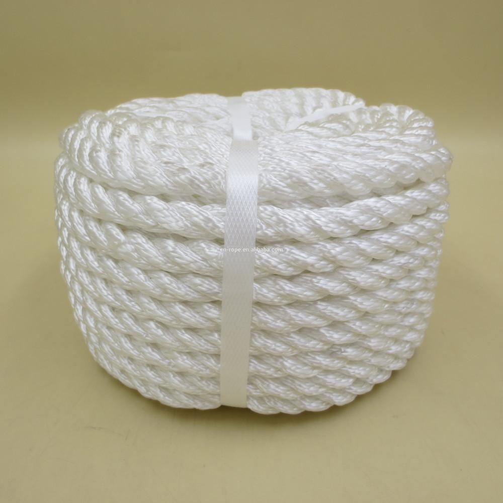 white 3 strand twist rope anchor line