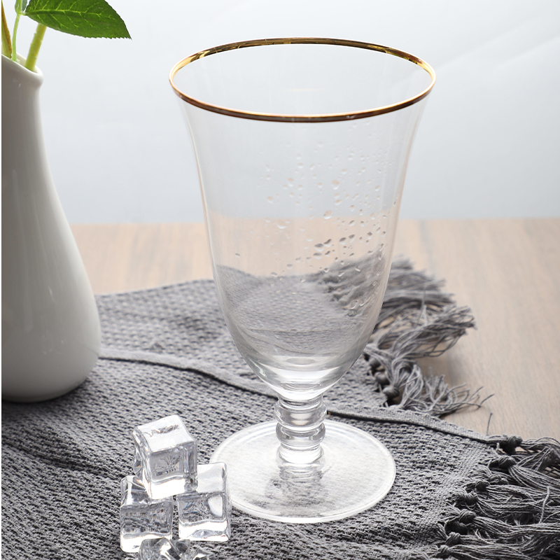 525ml Clear Transparent Gold Rim Vintage Crystal Wine Glass for Wedding Party Hotel