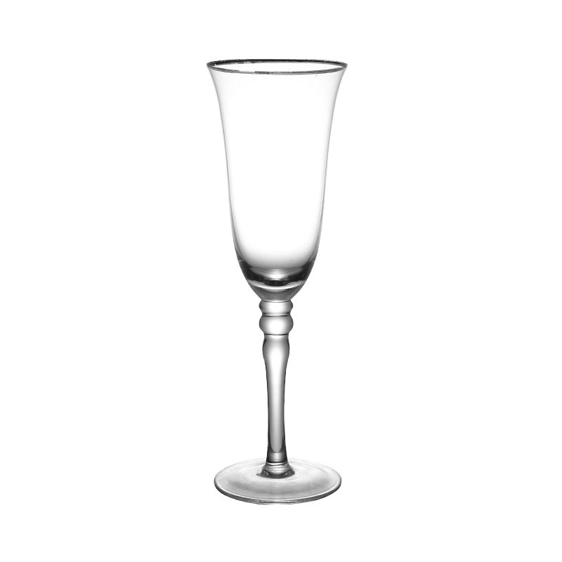 European Style 210ml Red Wine Glass Crystal with Gold Rim