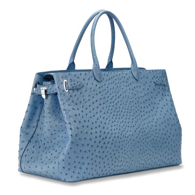 Ladies Ostrich with Silver Finish Leather Tote Bags