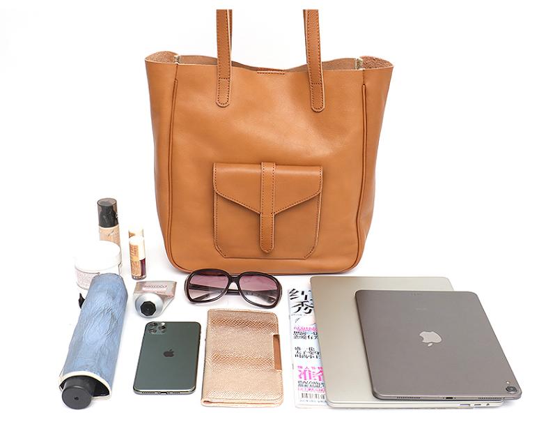 Women Shoulder Bag Front Pocket Ladies Genuine Leather Tote Fashion Daily Casual Large Female Handbag