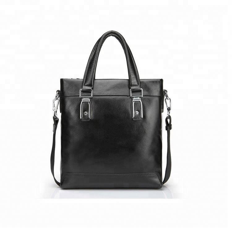 GF-B021 2020 Black Genuine Leather Tote & hand bag with shoulder strap for men