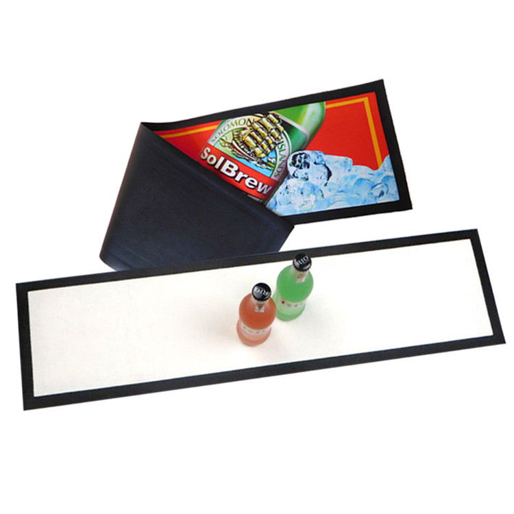 Tigerwings manufacturer promotion personalized wine custom rubber beer drip spill soft bar runner mat with logo