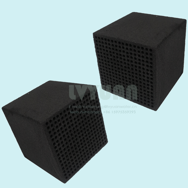 Multi Porous Square Cube Design Activated Block Carbon Honeycomb Sintered Carbon Filter Cartridge for 10 20 Microns Air/Liquid