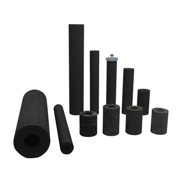 Customized size sintering block 5 micron sintered carbon filter cartridge for refrigerator freezer filter parts