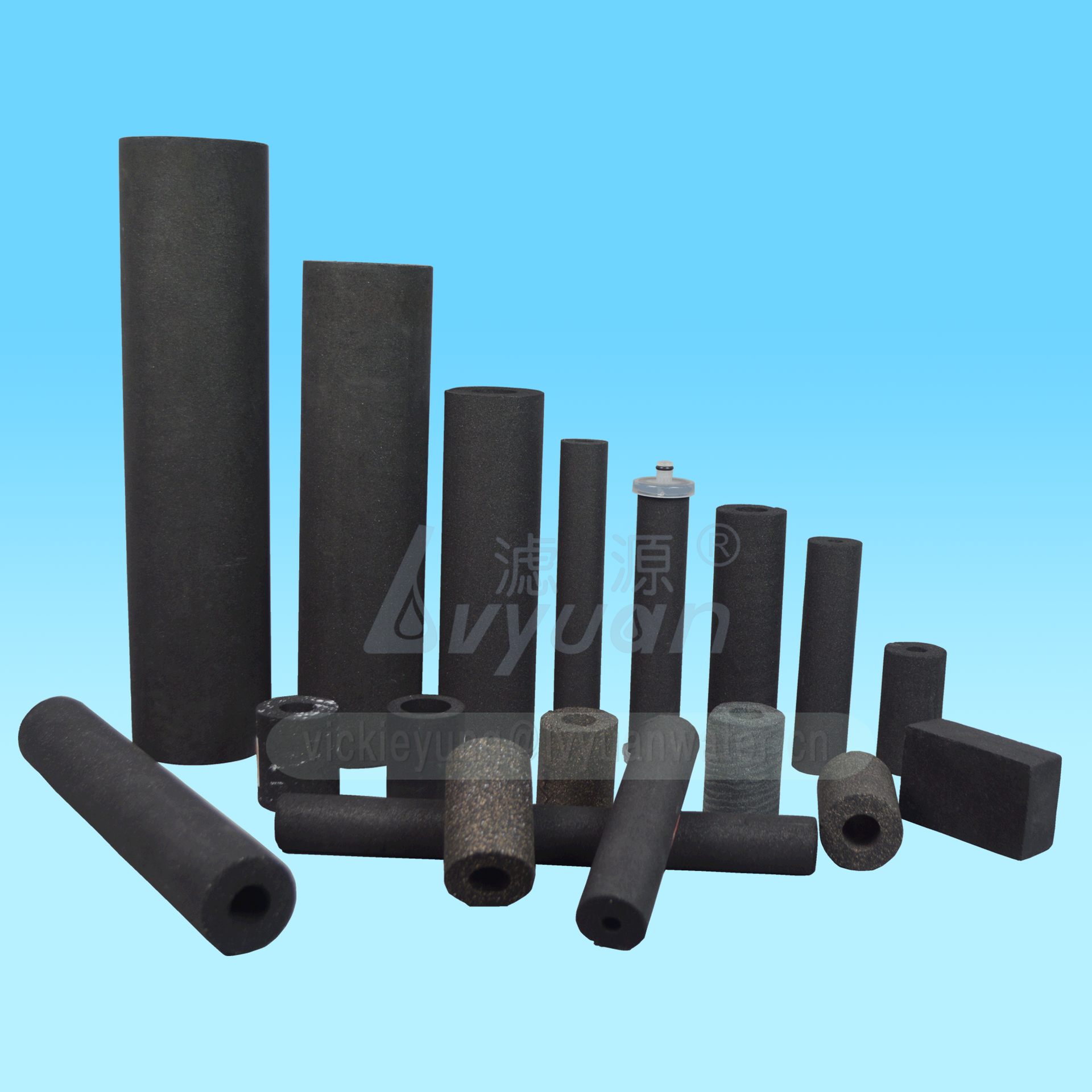 Sintering filter factory 5/10/25 microns carbon filter block for water liquid chlorine adsorption