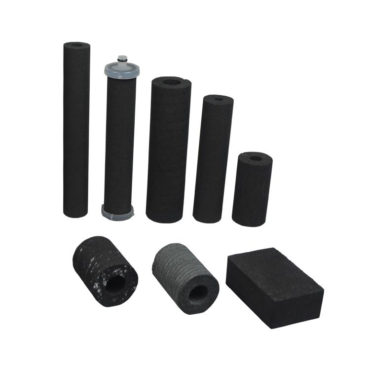 Food grade block filter rod type 5 10 20 inch sintered carbon Filter for removing chlorine & odor absorbed water filter