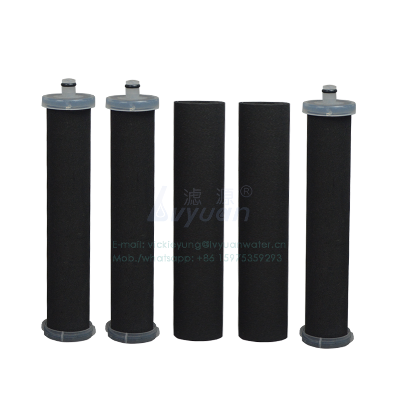 Water purifier spare parts in-line 10 inch 5 microns post filter activated carbon cartridge for liquid water filtration housing