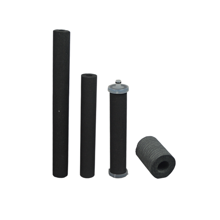Post activated carbon filter series 10 micron sintered carbon water cartridge with block filter rod design