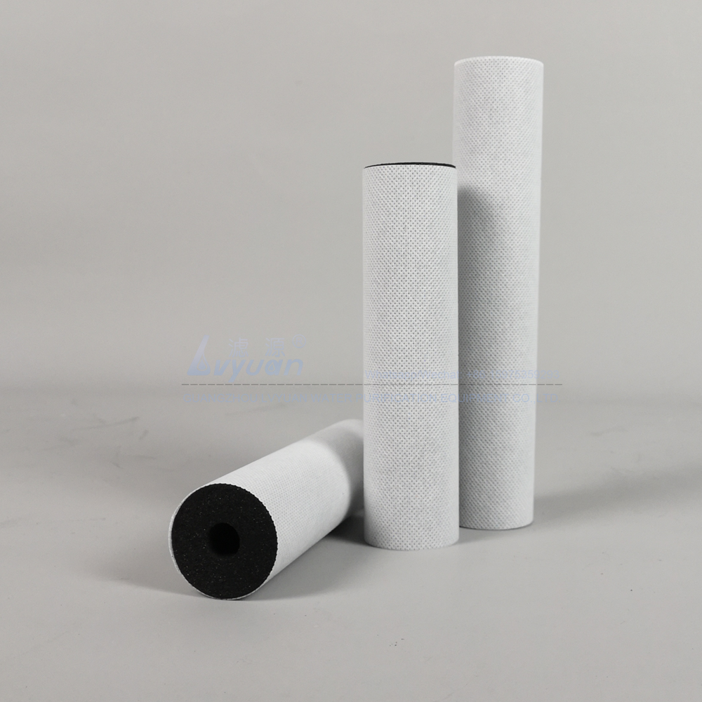 Guangzhou filter manufacture 10 20 inch sinter carbon block water filter with non-woven fabric