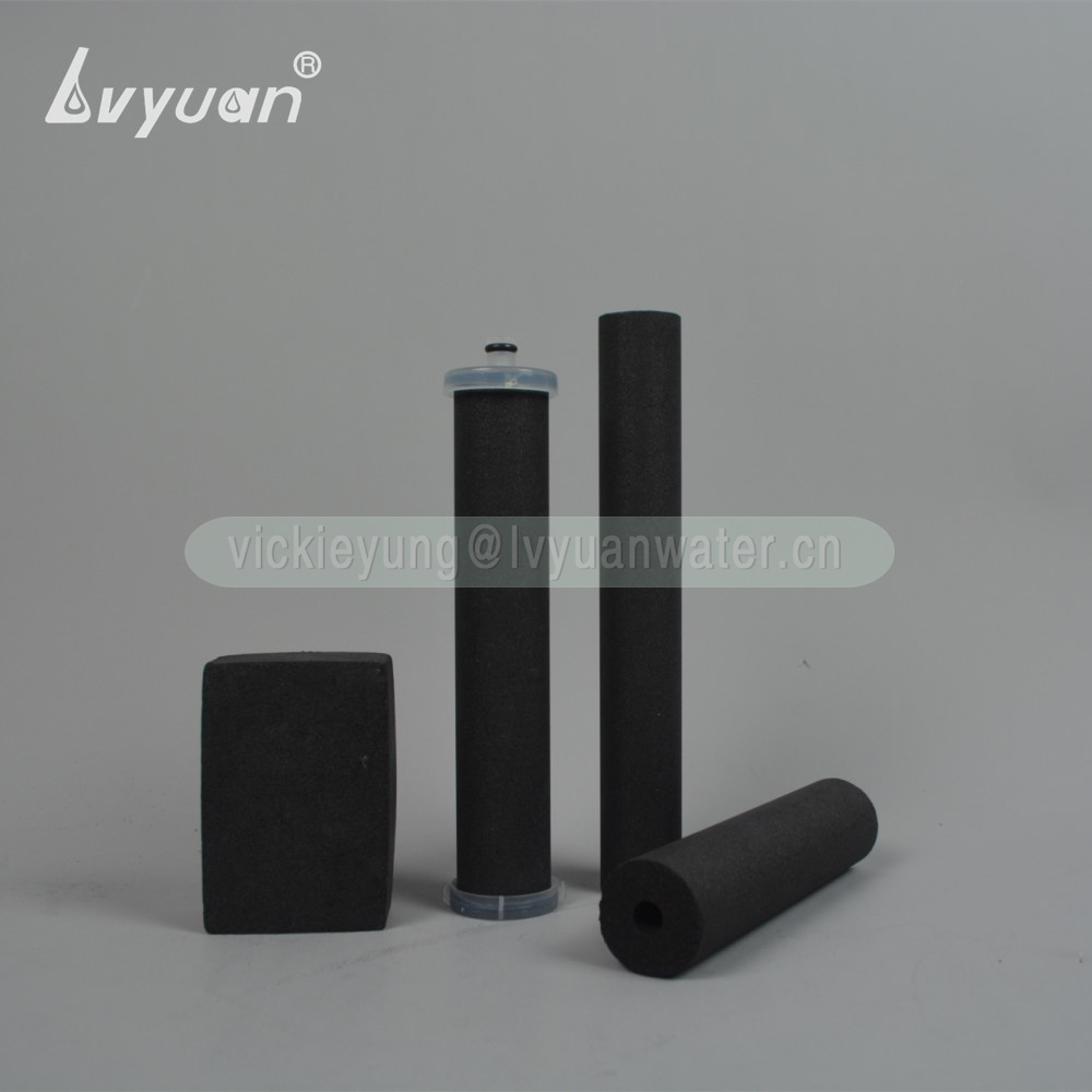 China carbon filter manufacturer sintering carbon 1 micron filter water bottle filter cartridge with customized disc tube design