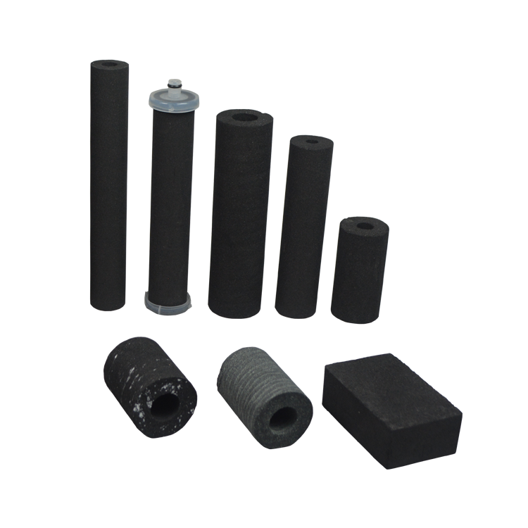 Drinking water bottle filter sintered 10 micron block carbon filter with activated carbon coconut shell material