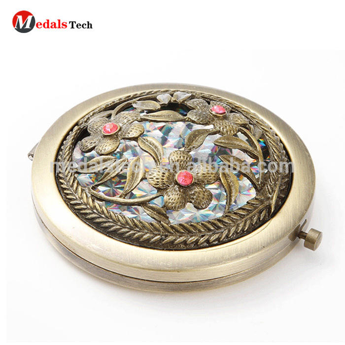 Crystal compact pocket makeup mirror cosmetic mirror for women