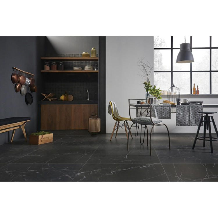 10mm large format polished porcelain tile black ceramic floor
