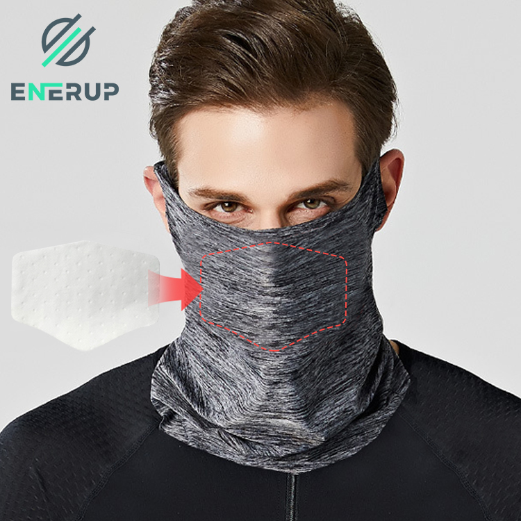 Enerup Outdoor Sport Custom Sublimation Blank Anti-dust Print Camo Face Scarf Neck Gaiter Safety Mask Carbon Red with Filter